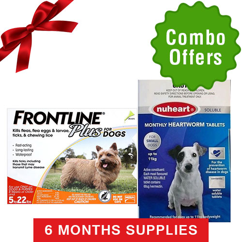 Frontline Plus & Generic Nuheart  Combo  FOR Dogs