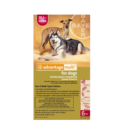 Advantage Multi (Advocate) Large Dogs 20.1-55 lbs (Red) 6 Doses