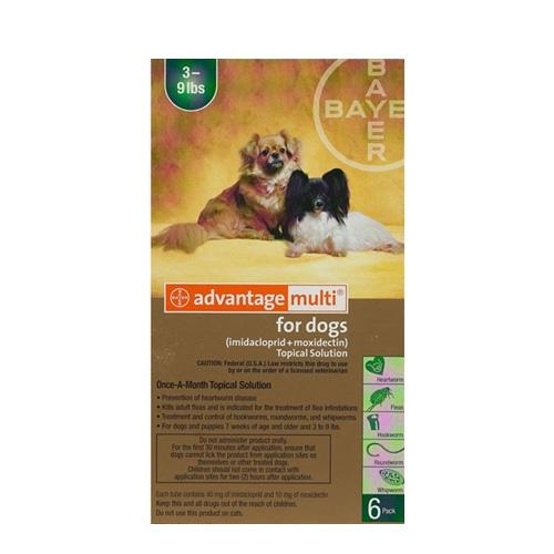 Advantage Multi (Advocate) Small Dogs 3-9 lbs (Green) 12 Doses