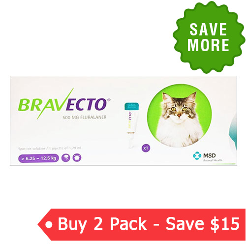 Bravecto Spot On  for Large Cats 13.8 lbs - 27.5 lbs (Green) 500 mg
