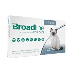 Broadline Spot-On Solution for Cats is indicated for the treatment, prevention and control of flea, tick and biting lice infestations and internal parasite infestation. Buy Broadline Spot-On Cats Flea & Tick treatment at lowest price with free shipping in USA.