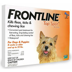 Frontline Top Spot Small Dogs 0-22 lbs (Orange) 6 + 2 Free Pipette