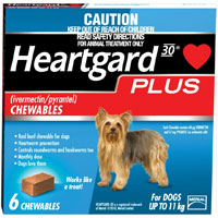 Heartgard Plus Chewables Small Dogs up to 25lbs  6 Doses