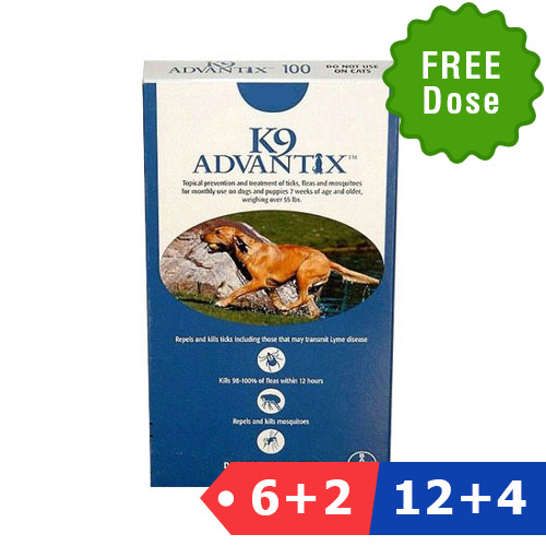 INOpets.com Anything for Pets Parents & Their Pets K9 Advantix Extra Large Dogs Over 55 Lbs (Blue) 6 Dose + 2 Doses Free