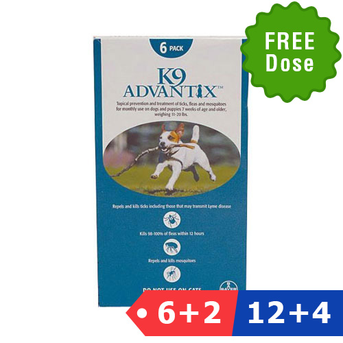 K9 Advantix Medium Dogs 11-20 Lbs (aqua) 12 Dose + 4 Doses Free