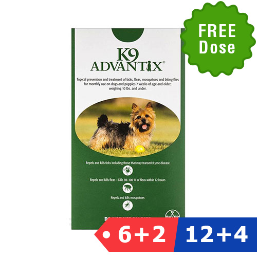 INOpets.com Anything for Pets Parents & Their Pets K9 Advantix Small Dogs/Pups 1-10 Lbs (Green) 6 Dose + 2 Doses Free