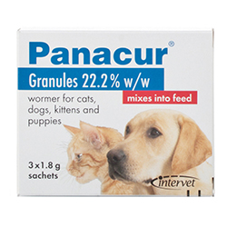 Panacur wormer granules are suitable for your Pets. Ideal for treating roundworm and tapeworm in puppies and dogs.