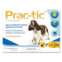 Prac-Tic Flea Spot On solution is ideal treatment and prevention of infestations of fleas and ticks in dogs. Prac-tic Spot On For Dog is an effective treatment and prevention of flea and tick infestation. Buy Prac-Tic online at discounted price with free shipping in USA.