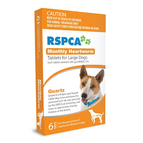 RSPCA Monthly Heartworm Tablets for Large Dogs 45-88lb (Orange)