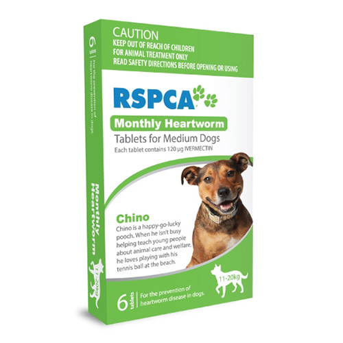 RSPCA Monthly Heartworm Tablets for Medium Dogs 23-44lb (Green)