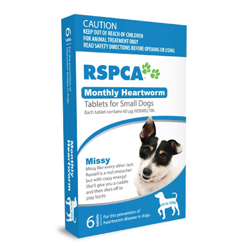 RSPCA Monthly Heartworm Tablets for Small Dogs Under 22lb (Blue)