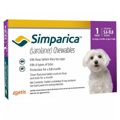 Simparica Oral Flea & Tick Preventive For Dogs 5.6-11 Lbs (Purple) 3 Pack
