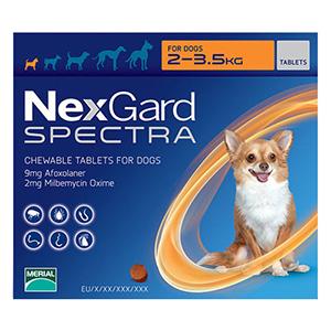 Nexgard Spectra Tab Xsmall Dog Upto 4.4-7.7 Lbs Orange 3 Pack