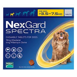 Nexgard Spectra Tab Small Dog 7.7-16.5 Lbs Yellow 3 Pack