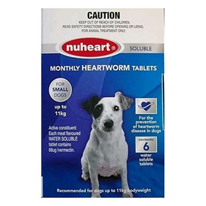 Nuheart Generic Heartgard Small Dogs Upto 25lbs Blue 12 Tablet
