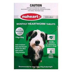Nuheart Generic Heartgard Medium Dogs 26-50lbs Green 6 Tablet