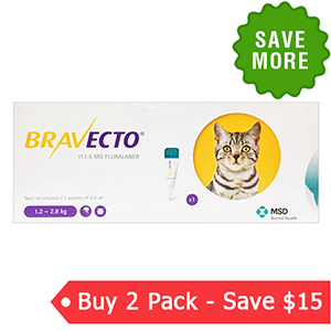 Bravecto Spot On For Small Cats 2.6 Lbs - 6.2 Lbs Yellow 112.5 Mg 1 Pack
