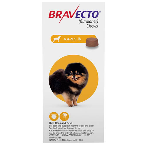 Best Vet Care coupon: Bravecto For Toy Dogs 4.4 To 9.9 Lbs Yellow 1 Chews