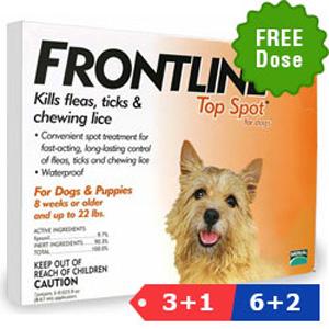 Frontline Top Spot Small Dogs 0-22 Lbs Orange 3 + 1 Pipette Free