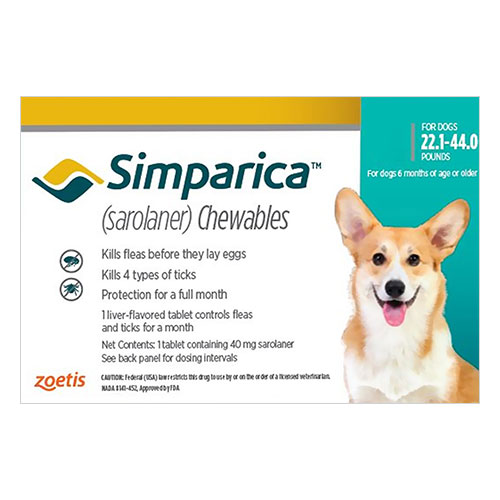 Simparica For Dogs 22.1-44 Lbs (Blue) 3 Doses