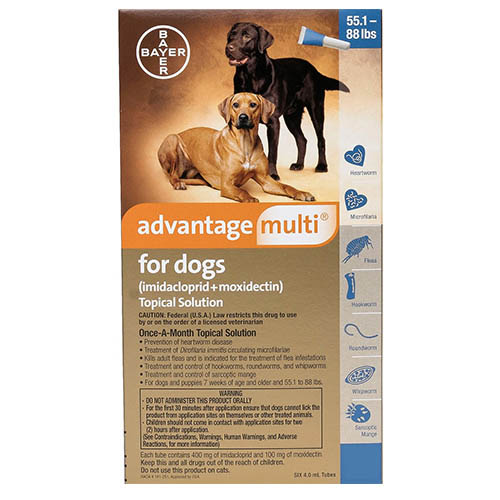 Advantage Multi Advocate Extra Large Dogs 55.1-88 Lbs Blue 6 Doses