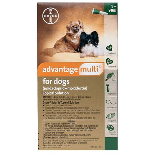 Advantage Multi Advocate Small Dogs 3-9 Lbs Green 12 Doses