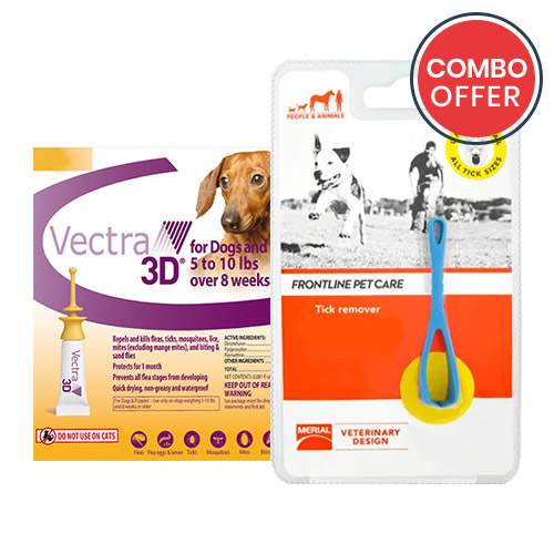 Vectra 3D + Frontline Pet Care Tick Remover for Dogs