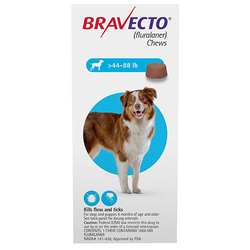Best Vet Care coupon: Bravecto For Large Dogs 44-88lbs Blue 1 Chews