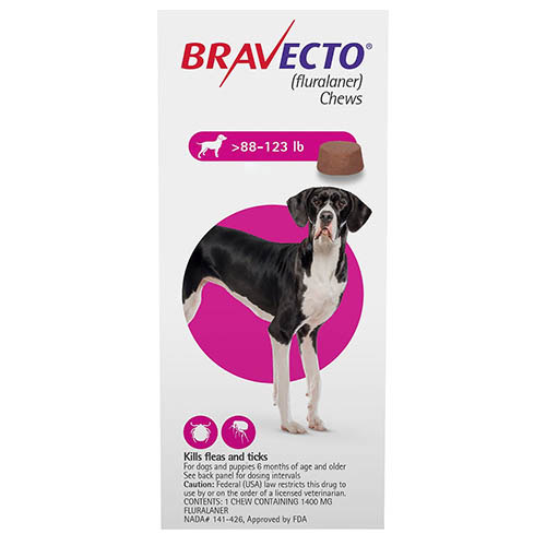 Best Vet Care coupon: Bravecto For Extra Large Dogs 88-123lbs Pink 1 Chews