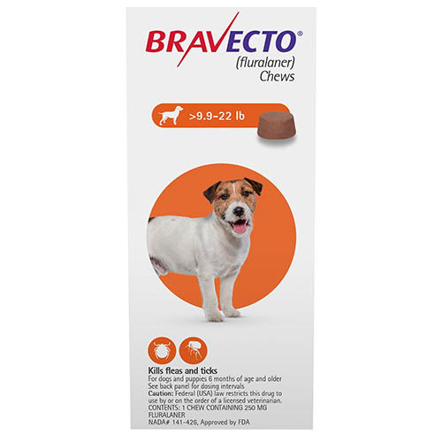 Best Vet Care coupon: Bravecto For Small Dogs 9.9-22lbs Orange 1 Chews