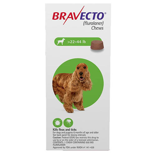 Best Vet Care coupon: Bravecto For Medium Dogs 22- 44 Lbs Green 1 Chews
