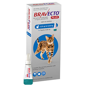Bravecto Plus For Medium Cats 250 Mg 6.2 To 13.75 Lbs Blue 3 Doses