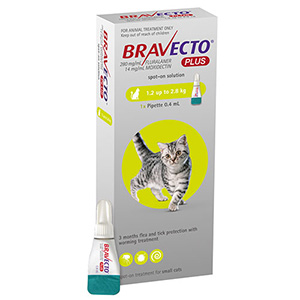 Bravecto Plus For Small Cats 112 Mg 2.6 To 6.2 Lbs Green 3 Doses