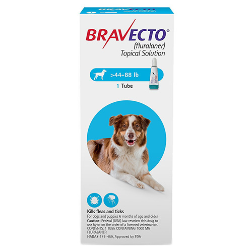 Best Vet Care coupon: Bravecto Topical For Large Dogs (44 - 88 Lbs) Blue 1 Doses