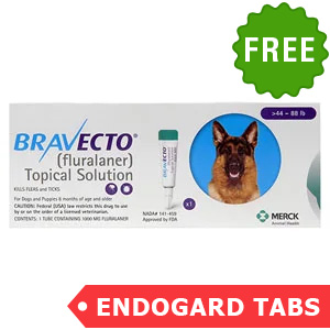 Bravecto Topical For Large Dogs (44 - 88 Lbs) Blue 1 Doses + 2 Free Endogard Tabs(Large)