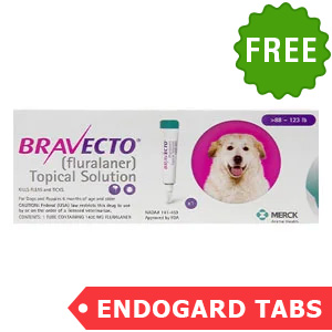 Bravecto Topical For X-Large Dogs (Above 88 Lbs) Pink 1 Doses + 2 Free Endogard Tabs(Large)