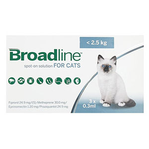 Broadline Spot-On Solution For Small Cats Up To 5.5 Lbs 3 Pack