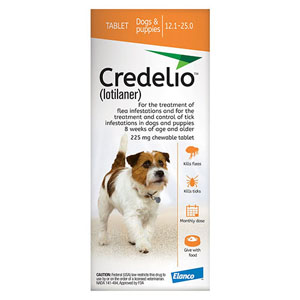 Best Vet Care coupon: Credelio For Dogs 12 To 25 Lbs 225mg Orange 6 Doses