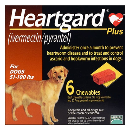 Heartgard Plus Chewables For Large Dog 51-100lbs Brown 6 Doses