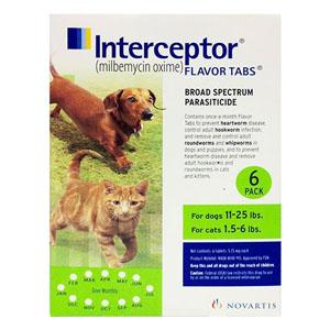 Interceptor For Small Dogs 11-25 Lbs Green 3 Chews