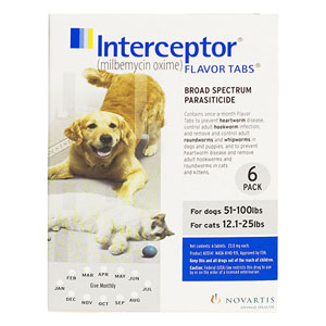 Interceptor For Large Dogs 51-100 Lbs White 6 Chews