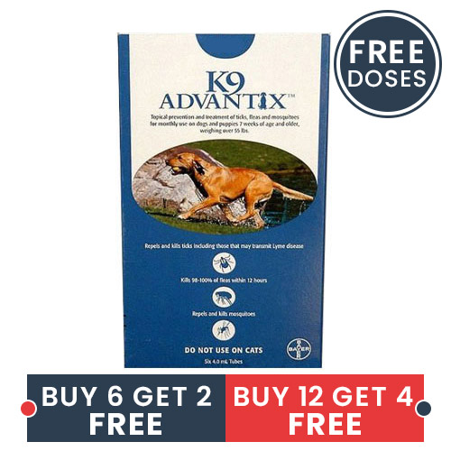K9 Advantix Extra Large Dogs Over 55 Lbs Blue 6 + 2 Doses Free