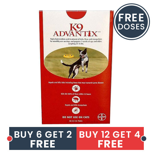 K9 Advantix Large Dogs 21-55 Lbs Red 6 + 2 Doses Free
