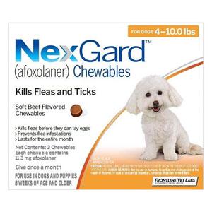 Nexgard For Small Dogs 4-10lbs Orange 11mg 3 Chews