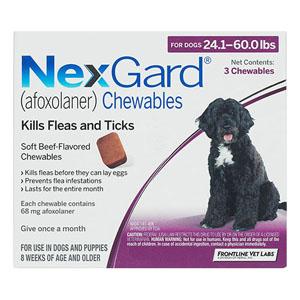 Nexgard For Large Dogs 24.1-60 Lbs Purple 68mg 12 Chews