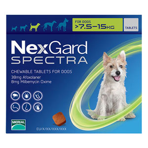 Nexgard Spectra For Medium Dogs 16.5-33 Lbs Green 3 Pack