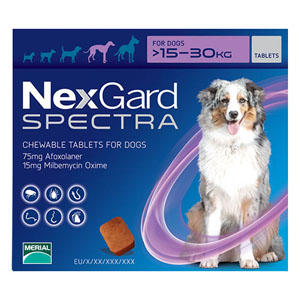 Nexgard Spectra For Large Dogs 33-66 Lbs Purple 3 Pack