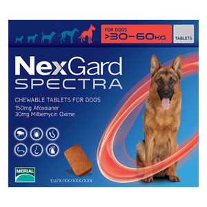 Nexgard Spectra For Xlarge Dogs 66-132 Lbs Red 3 Pack
