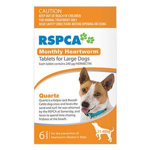 Rspca Heartworm Tablets For Large Dogs 45-88lb Orange 6 Tablet