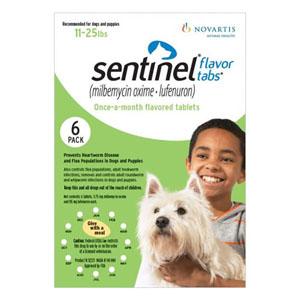 Sentinel Dogs 11-25 Lbs Green. 3 Chews